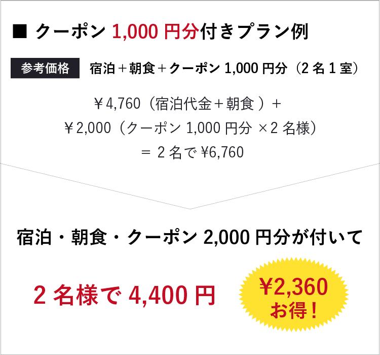 クーポン1,000円分付きプラン例