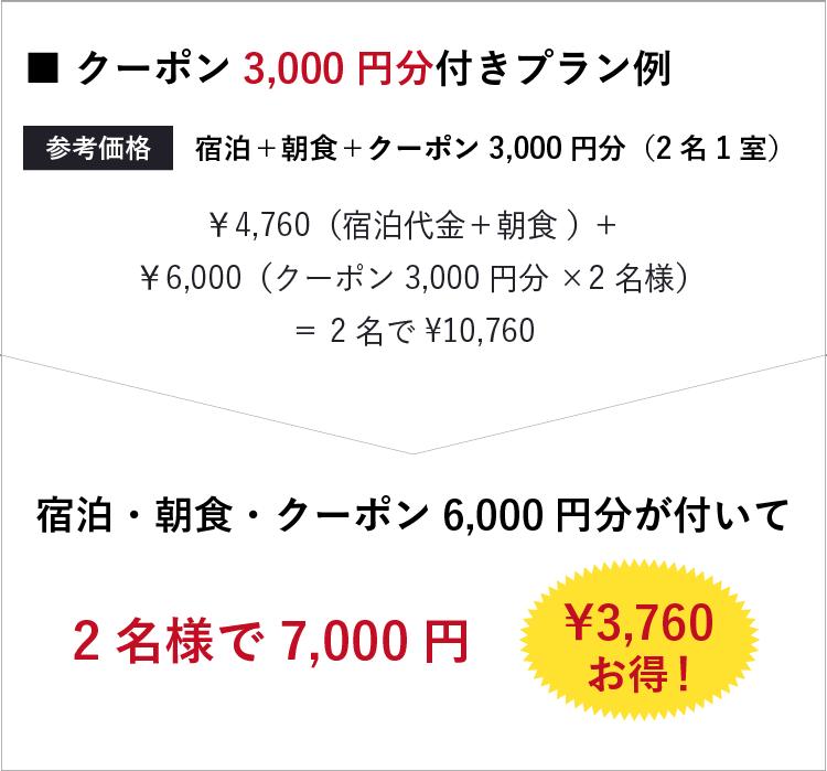 クーポン3,000円分付きプラン例